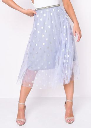 Gold Detail Polka Dot Tulle Mesh Midi Skirt Blue