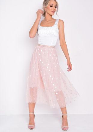 Gold Detail Polka Dot Tulle Mesh Midi Skirt Pink