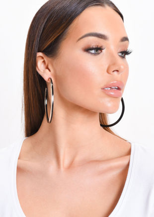 Large Gold Panel Hoop Earrings Black