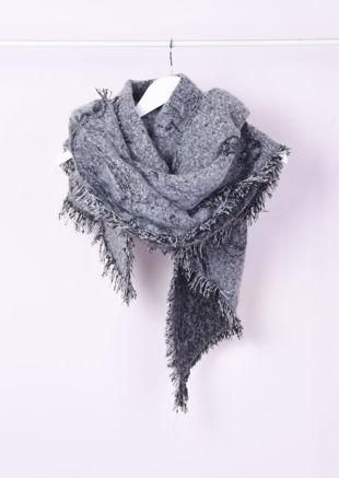 Super Soft Knitted Fringe Hem Scarf Grey