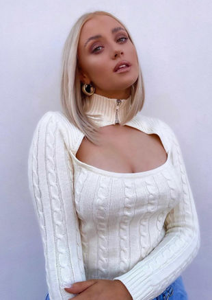 Zipped Mock Neck Cable Knitted Key Hole Cut Out Jumper Top Beige