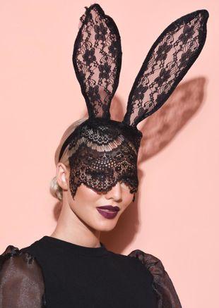 Halloween Bunny Ears With Veil Headband Black