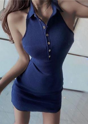 Halterneck Collar Ribbed Button Down Mini Dress Navy Blue