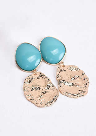 Hammered Gold Drop Earrings Turquoise Blue