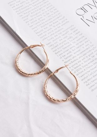 Hammered Hoop Earrings Rose Gold