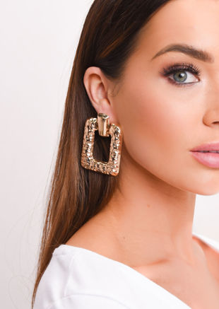 Hammered Square Drop Earrings Gold