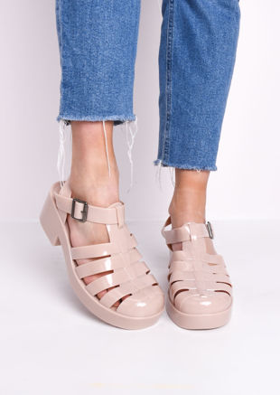 Cleated Block Heeled Jelly Sandals Beige