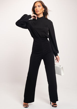 High Neck Open Back Puff Sleeve Jumpsuit Black