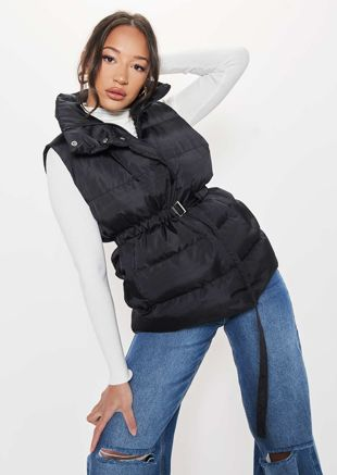High Neck Panelled Waisted Belted Puffer Gilet Coat Black