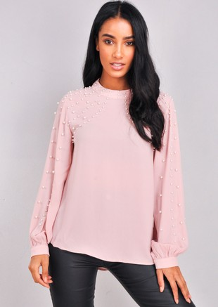 High Neck Pearl Embellished Top Pink