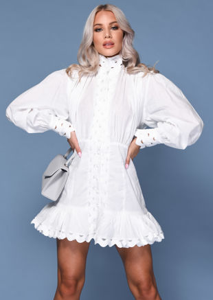 High Neck Puff Sleeved Layered Hem Shirt Dress White