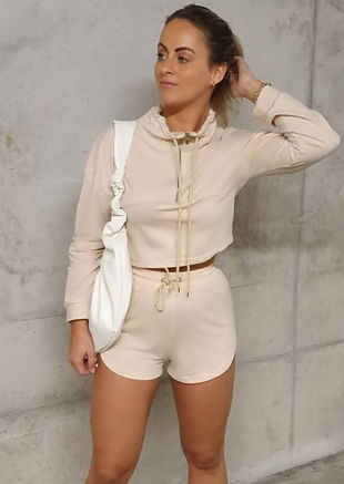 High Neck Zipped Sweatshirt Shorts Co ord Set Beige