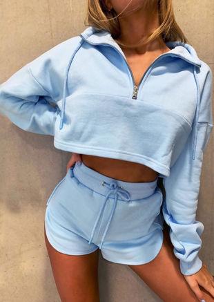 High Neck Zipped Sweatshirt Shorts Co ord Set Blue