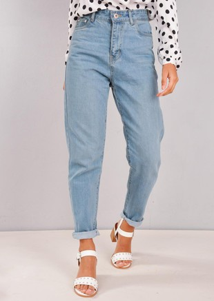 High Rise Denim Mom Jeans Light Blue
