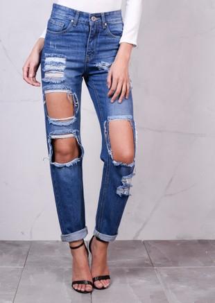 High Rise Extreme Ripped Detail Denim Boyfriend Jeans Light Blue
