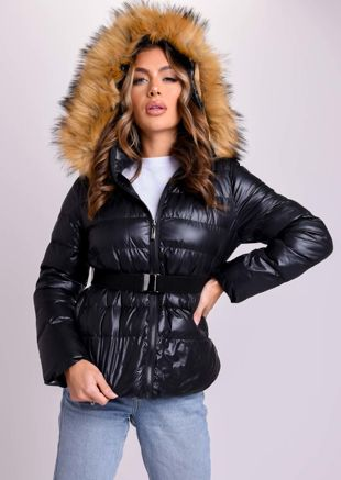 Fur Hooded High Shine Buckle Belted Puffer Jacket Coat Black