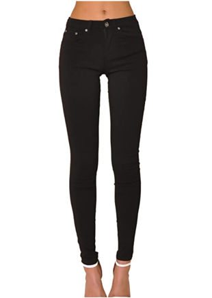 High Waisted 5 Pocketed Belt Looped Skinny Jeans Black