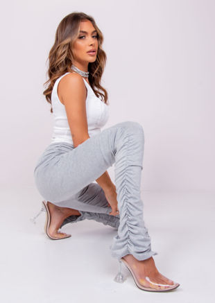High Waisted Ankle Split Ruched Skinny Pants Legging Grey