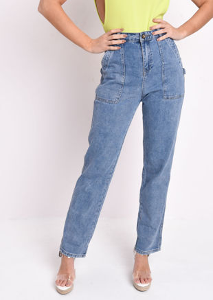 High Waisted Cargo Mid Wash Denim Jeans Blue