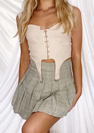 High Waisted Checked Pleated Mini Kilt Skirt Green