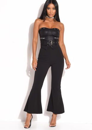 High Waisted Flared Leg Trousers Black