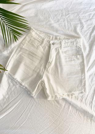 High Waisted Frayed Hem Denim Shorts White