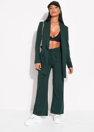 High Waisted Front Seam Detail Straight Trousers Dark Green
