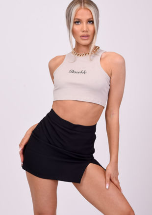 High Waisted Front Split A Line Mini Skirt Black