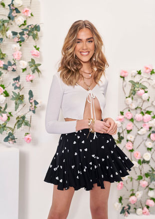 High Waisted Frill Layered Heart Print Mini Skirt Black