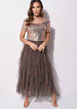 High Waisted Layered Tulle Ruffle Midi Skirt Brown