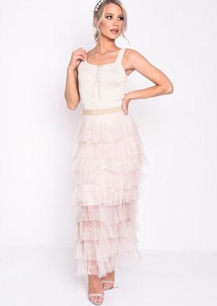High Waisted Layered Tulle Ruffle Skirt Beige