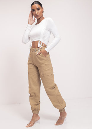 High Waisted Long Belt Utility Cargo Fitted Joggers Trousers Brown