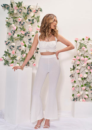 High Waisted Metal Buckle Flared Textured Crop Top And Trousers Co Ord Set White