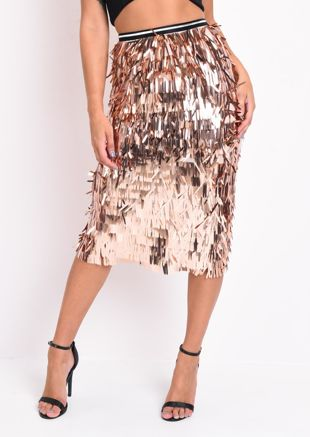 High Waisted Metallic Tassel Fringe Midi Skirt Rose Gold