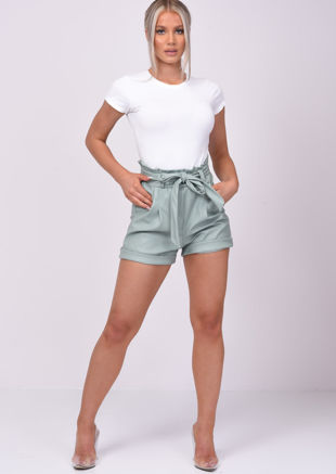 High Waisted Paperbag Pu Tie Waist Shorts Green