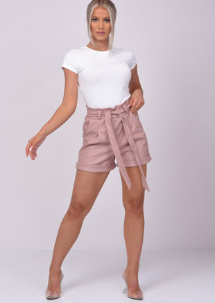 High Waisted Paperbag Pu Tie Waist Shorts Pink