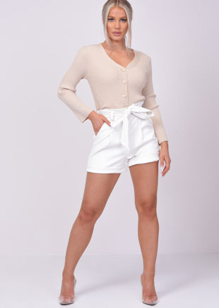 High Waisted Paperbag Pu Tie Waist Shorts White