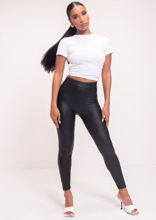 High Waisted Pu Faux Leather Legging Pants Black