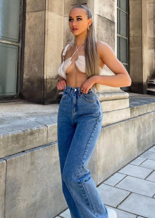 High Waisted Wide Leg Denim Jeans Blue