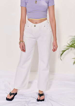High Waisted Slanted Button Denim Wide Leg Jeans White