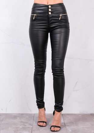 174fa24f432b High Waisted Triple Button Jeans Leather Look Trousers Black