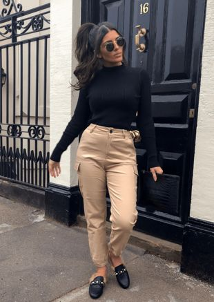 High Waisted Utility Cargo Trousers Beige