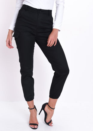 High Waisted Utility Cargo Trousers Black