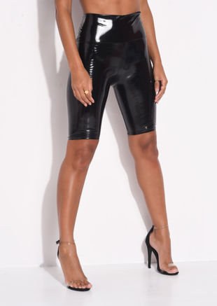 High Waisted Vinyl Cycling Shorts Black