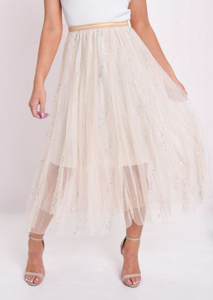 Holographic Circle Embellished Tulle Midi Skirt Beige