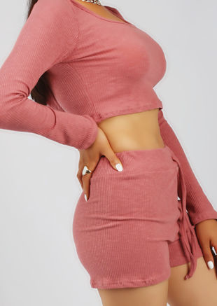 Hooded Ribbed Crop Top Shorts Co Ord Loungewear Set Pink