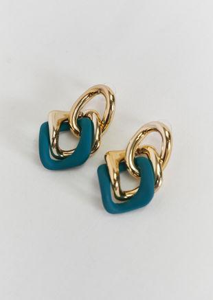 Interlocked Chunky Linked Chained Earrings Green