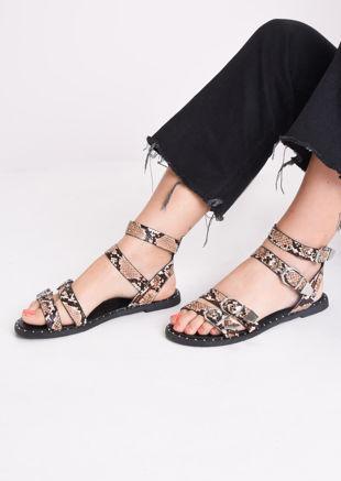 Snake Print Studded Flat Sandals Multi