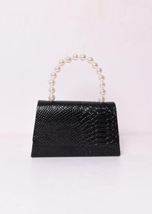 Croc Embossed Faux Pearl Mini Tote Bag Black