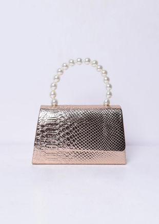 Croc Embossed Faux Pearl Mini Tote Bag Gold